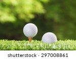 golf ball on a tee peg and golf ... | Shutterstock . vector #297008861