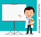 doctor on presentation. doctor... | Shutterstock .eps vector #297014741