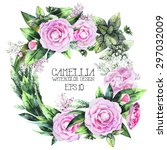 watercolor  camellia wreath.... | Shutterstock .eps vector #297032009