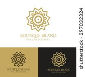 Stock vector boutique brand luxury logo design template 297032324