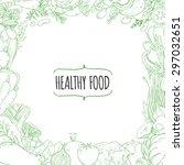 set of healthy vegetarian food. ... | Shutterstock .eps vector #297032651