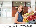 blonde woman shopping organic... | Shutterstock . vector #297062651
