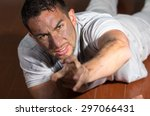 hispanic man with dirty face... | Shutterstock . vector #297066431