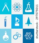 set of technology science icons | Shutterstock .eps vector #297075011