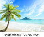 summer holiday concept  coconut ... | Shutterstock . vector #297077924
