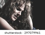 a woman crying having a bad... | Shutterstock . vector #297079961