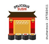 delicious sushi design  vector... | Shutterstock .eps vector #297083411