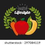 healthy lifestyle design ... | Shutterstock .eps vector #297084119
