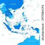 southeast asia map   highly... | Shutterstock .eps vector #297084191