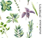 Watercolor Herbs Pattern....