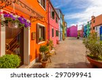 colorful apartment building in... | Shutterstock . vector #297099941