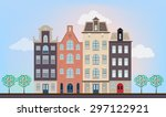urban european houses in... | Shutterstock . vector #297122921