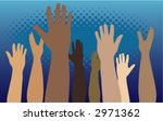 diverse group of raised hands | Shutterstock .eps vector #2971362