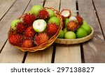 Small photo of apple on wooden table
