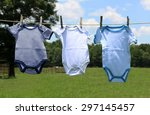 Stock photo baby clothes on a line 297145457