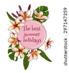 summer hand drawn floral... | Shutterstock .eps vector #297147359