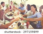 diverse people hanging out... | Shutterstock . vector #297159899