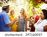 diverse people party... | Shutterstock . vector #297160037
