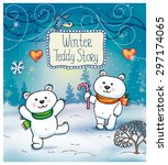 funny winter christmas story... | Shutterstock .eps vector #297174065