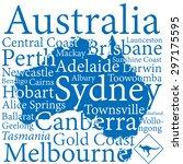 australia design map with... | Shutterstock .eps vector #297175595