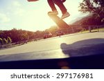 skateboarder legs doing a trick ... | Shutterstock . vector #297176981