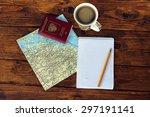 map  passport  notebook and cup ...   Shutterstock . vector #297191141