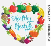 fruits and vegetables. healthy... | Shutterstock .eps vector #297196001