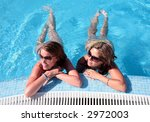two girlfriends splashing... | Shutterstock . vector #2972003