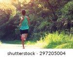 runner athlete running on...   Shutterstock . vector #297205004