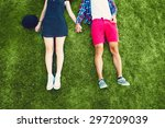 young couple enjoying on the... | Shutterstock . vector #297209039