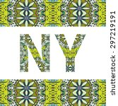 new york sign with tribal... | Shutterstock .eps vector #297219191