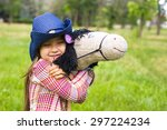 cute little girl with a toy... | Shutterstock . vector #297224234