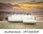 3d rendering of a sofa in front ... | Shutterstock . vector #297260309