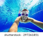 refreshing at pool. underwater... | Shutterstock . vector #297261851