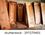 wooden coffins in a store | Shutterstock . vector #297270401