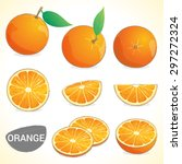 set of oranges with leaf in... | Shutterstock .eps vector #297272324