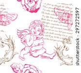 seamless pattern with angel ... | Shutterstock .eps vector #297272597