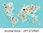 cartoon animal world map for... | Shutterstock .eps vector #297273989