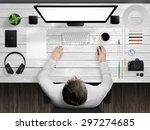 designer desk mockup scene with ... | Shutterstock . vector #297274685