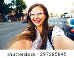 young smiling teen happy woman... | Shutterstock . vector #297285845