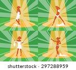 striptease girl show  poses on... | Shutterstock . vector #297288959