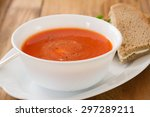 Tomato Soup In White Bowl With...