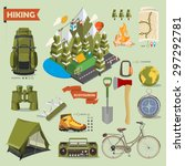 hiking and camping. summer... | Shutterstock .eps vector #297292781