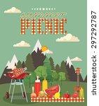 vector family picnic... | Shutterstock .eps vector #297292787