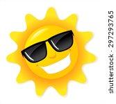 Shining Yellow Sun. Cartoon...