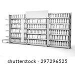 set of supermarket shelves with ... | Shutterstock . vector #297296525