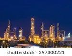 oil refinery factory in night   ... | Shutterstock . vector #297300221