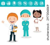 medical team. cheerful health... | Shutterstock .eps vector #297306869