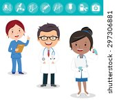 health care team. cheerful... | Shutterstock .eps vector #297306881