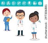 health care team. cheerful... | Shutterstock .eps vector #297306881